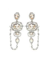 Oscar de la Renta | Multicolor Pave Frame Crystal Clip-on Earrings | Lyst