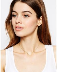 ASOS | Metallic Gold Plated Sterling Silver Open Triangle Choker Necklace | Lyst