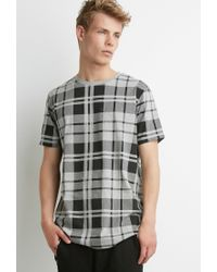 Forever 21 Gray Plaid Print Tee for men