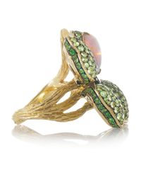 Lydia Courteille - Green Four Leaf Clover 18karat Gold Opal and Tsavorite Ring - Lyst