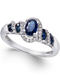 Macy's | Metallic Sapphire (7/8 Ct. T.w.) And Diamond (1/6 Ct. T.w.) Twist Ring In Sterling Silver | Lyst