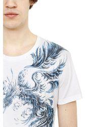 Balmain - Blue Phoenix Printed Cotton T-shirt for Men - Lyst