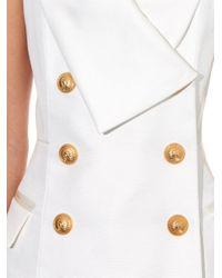 Balmain - White Halterneck Tuxedo Top - Lyst
