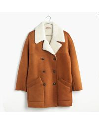 Madewell | Brown Shearling Car Coat | Lyst