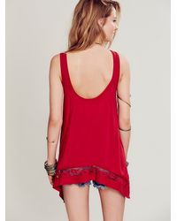 Free People - Red Intimately Womens Outlined High Low Cami - Lyst