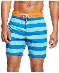Tommy Hilfiger - Blue Striped Swim Trunks for Men - Lyst