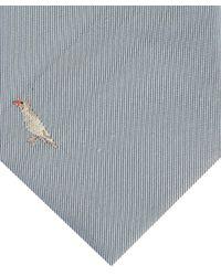 Paul Smith Gray Light Grey Bird Print Silk Tie for men