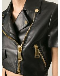 Moschino - Black Cropped Biker Jacket - Lyst