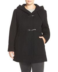 Jessica Simpson | Black Hooded Basket Weave Duffle Coat | Lyst