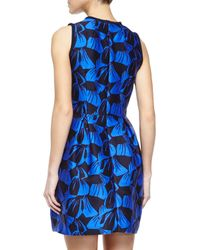 Mother Of Pearl Black Sandler Leaf-jacquard Fit & Flare Dress