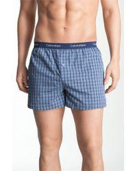 Calvin Klein Blue 'matrix' Slim Fit Woven Boxers for men