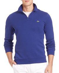 Lacoste - Blue Quarter-zip Fleece Sweatshirt for Men - Lyst