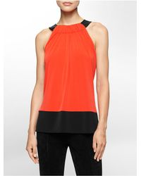 Calvin Klein | Orange White Label Faux Leather Detail Halter Top | Lyst