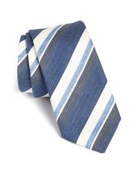 BOSS Blue Stripe Silk Blend Tie for men