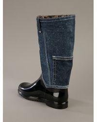 Dolce & Gabbana - Blue Rubber and Denim Boot - Lyst