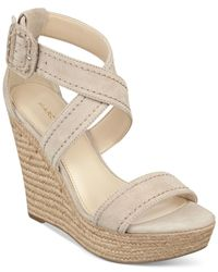 Marc Fisher | Natural Haely Platform Wedge Sandals | Lyst