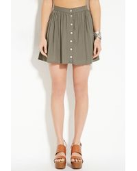 Forever 21 | Green Button-front Mini Skirt | Lyst