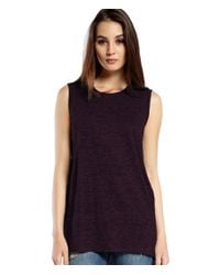 Michael Stars | Purple Linen Knit Tank With Side Slits | Lyst