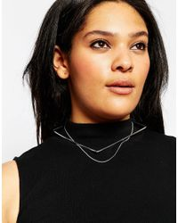Asos Curve | Metallic Fine Square Choker & Chain Necklace | Lyst