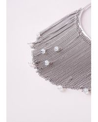 Missguided | Metallic Crystal Drop Layered Collar Necklace Silver | Lyst