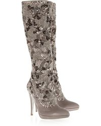 Rene Caovilla | Gray Embellished Metallic Suede Knee Boots | Lyst
