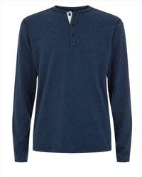 Jaeger - Blue Cotton Marl Henley Shirt for Men - Lyst