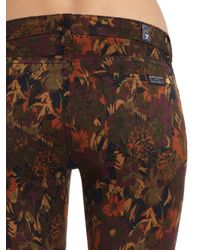 7 For All Mankind   Brown Floral-print Skinny Jeans   Lyst