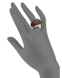 John Hardy - Brown Palu Rose Wood & Sterling Silver Small Dome Ring - Lyst