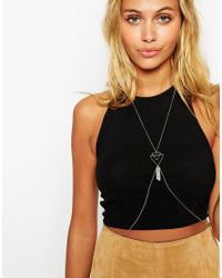 ASOS Metallic Open Triangle And Crystal Shard Body Harness