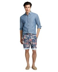 Brooks Brothers Multicolor Oxford-Lined Madras Patchwork Shorts for men