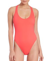 MILLY Red One-piece Italian Solid Marini Maillot