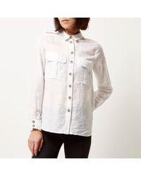 River Island - White Utility Shirt - Lyst
