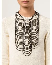 Brunello Cucinelli | Black Beaded Breast Plate Necklace | Lyst