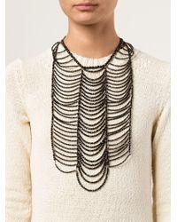 Brunello Cucinelli - Black Beaded Breast Plate Necklace - Lyst