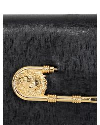 Versus - Black Safety Pin Saffiano Leather Clutch - Lyst