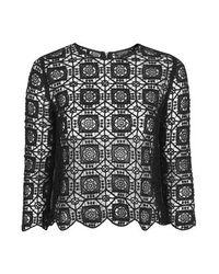 TOPSHOP | Black 3/4 Sleeve Crochet Top | Lyst