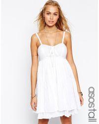 ASOS - White Sundress In Stripe Herringbone - Lyst