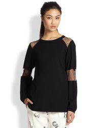 See By Chloé - Black Swiss Dot Mesh-Paneled Sweatshirt - Lyst