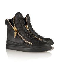 Giuseppe Zanotti Black Leather Wedge Sneakers