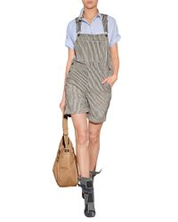 Current/Elliott | Gray The Shortall Striped Denim Overall Shorts | Lyst