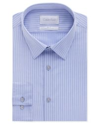 Calvin Klein - Platinum Slim-Fit Powder Blue Stripe Dress Shirt for Men - Lyst