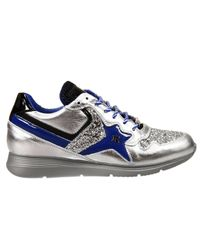 John Richmond - Blue Shoes Esther Sneakers Leather Laminated E Glitter - Lyst