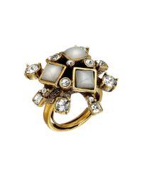 Oscar de la Renta | Metallic Resin Flower Ring | Lyst