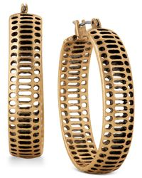 Lucky Brand | Black Gold-tone Cut-out Hoop Earrings | Lyst