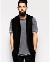 Asos Longline Sleeveless Knitted Hooded Cardigan in Black for Men ...
