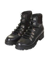 TOPSHOP Black Ahoy Leather Hiker Boots