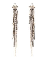 Irit Design - Metallic Pave Diamond Crown Earrings With Chain Fringe Drops - Lyst