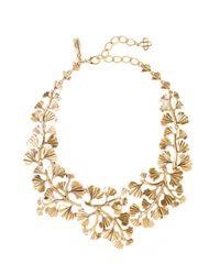 Oscar de la Renta   Metallic Russian Gold Cascading Gingko Leaf Necklace   Lyst