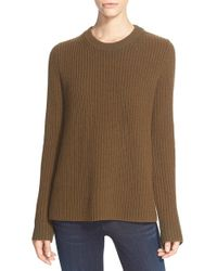 Theory | Brown 'barda' Ribbed Wool & Cashmere Pullover | Lyst