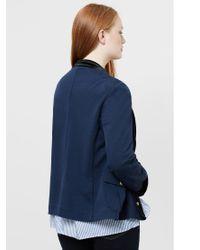 Violeta by Mango Blue Buttoned Cotton Jacket